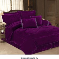 5 Piece Twin Purple Velvet Bedding Comforter Set