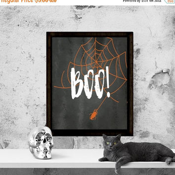 Halloween Printable, Halloween Sign, BOO!, Red Spiderweb, Halloween Quote, Halloween Wall Art, Instant Download, Printable Art
