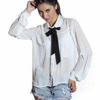Chiffon Peter Pan Bow Collared Blouse