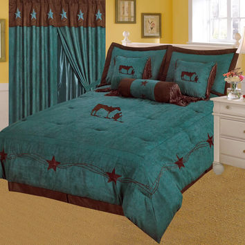 Western Rustic Turquoise Praying Cowboy Embroidery Star Luxury Comforter