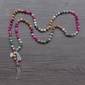 Natural Stone Bead with Leaf / Owl Tassel Necklace