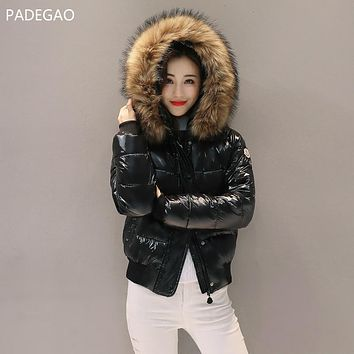 Winter New Bright Surface Down Cotton Padded Short Women Coat Quilted Coat Thick Female Parkas Hooded Large Fur Collar Jacket