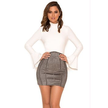 Jane grey suedette mini skirt and white bandage bodysuit