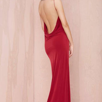 Red Spaghetti Strap Cowl Backless Maxi Dress