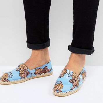 ASOS Espadrilles In Blue With Tiger Print at asos.com