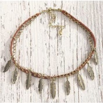 Shyanne Women's Feather Choker Necklace