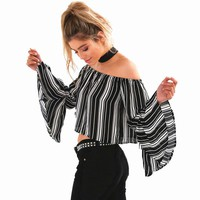 Women 80`S Retro Strip Print Slash Neck Flare Sleeve Off Shoulder Blouse Shirt Cropped Top