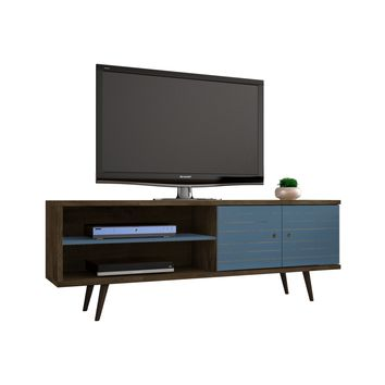 "62.99"" Mid Century - Modern TV Stand w/ 3 Shelves & 2 Doors w/ Solid Wood Legs-Brown & Blue"