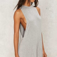 Low Key Mock Neck Romper - Gray