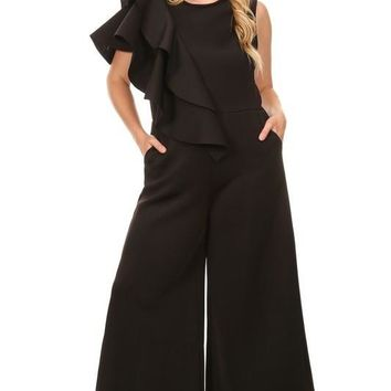 Sleeveless Solid Scuba Knit Jumpsuit With Layered Ruffle Embellishment
