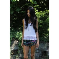 White Racerback Tank Top With Lace Trim.