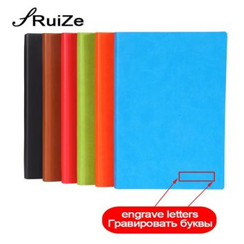 RuiZe soft cover creative notebook leather journal diary note book A5 B5 thick notebook can be engraved 2017 2018 2019 calendar