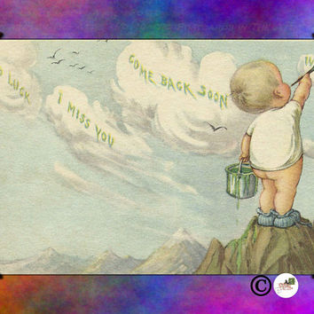 "Bare Bottomed Baby Painting the Clouds ""Good Luck ""I miss you"" Tie-dye Colors Vintage look Postcard Stationary Standard Size Set of 12 Cards"