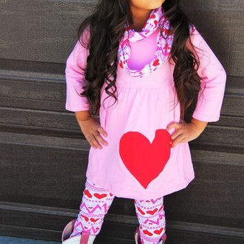 Girls Valentines Outfit Toddler Pink Valentine Aztec Scarf Outfit Valentines Shirt 3pc Aztec Outfit