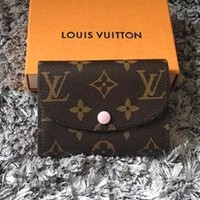 Gotopfashion LV Louis Vuitton Stylish Monogram Pink Buckle Canvas Key Packet PU Small Coin Purse Wallet Key Pouch I