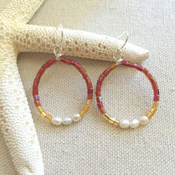 Burgundy & Gold Earrings - Seed Bead Earrings - Pearl Hoop Earrings - Beaded Chandelier Earrings - Bohemian Hoop Earrings - Lightweight