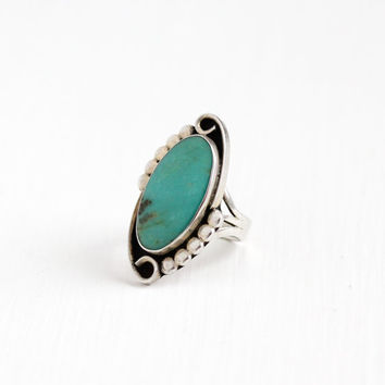 Vintage Sterling Silver Large Blue Turquoise Ring - Size 7 Retro Southwestern Native American Style Statement Nature Gem Jewelry