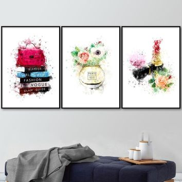 Paris Flower Perfume Lipstick book Wall Art Canvas Painting Nordic Posters And Prints Wall Pictures For Living Room Salon Decor