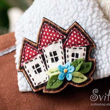 Miniature House Felt BroochTextile Jewelry Unusual gift Amanita fairy