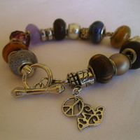 Pandora Style - Peace and Love Charm Bracelet Collection- Beaded - Ready to Ship