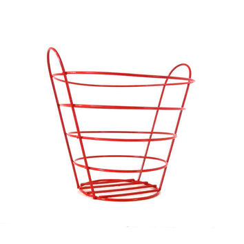 vintage wire basket, red, mid century modern,, metal, retro home decor, storage, mod, fruit bowl