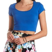 Cotton Short Sleeve Crop Top by Charlotte Russe - Royal