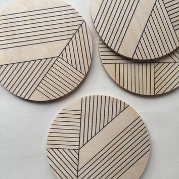 modern coasters/ printed/ art deco coasters/ geometric coasters/ wood coasters/ mid century modern/ minimal coasters/ hostess gift/ for her