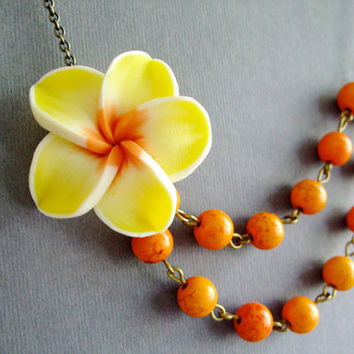Wedding Jewelry,Flower Necklace,Orange Jewelry,Tropical Necklace,Bridesmaid Necklace,Yellow Jewelry (Free Matching Earrings)