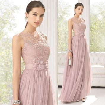 2016 Lace Long Bridesmaids Dresses Sheer Neck Floor Length Tulle Tank Flower Wedding Party Dresses Prom Gowns  vestido madrinha