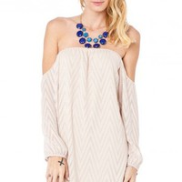 Casimir Off Shoulder Dress in Cream - ShopSosie.com