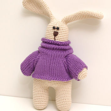 crochet bunny, amigurumi stuffed toy, rabbit toys, handmade toy, cotton yarn easter bunny, gift for boy or girl, easter basket, easter gift