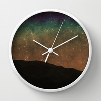 Art Wall Clock Star Light Fine Art Photography home decor photo photograph stars shining black night dark blue green rust hipster celestial