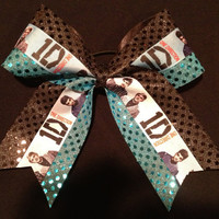 Cheer Bow  1D One Direction Turquoise Black by CheerLover2Worlds
