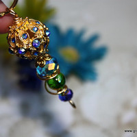 Peacock Keychain, Turquoise, Green, Cobalt Blue Key Ring, Captured in Swirled Gold Color Wire, Rhinestone Filigree Bead, Wedding Favor