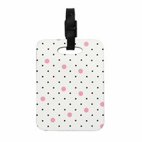 """Project M """"Pin Points Polka Dot Pink"""" Pink Black Decorative Luggage Tag"""