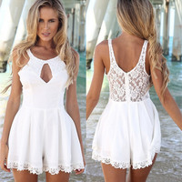 New Fashion Women Summer Style Sexy Lace Jumpsuits Sleeveless Hollow Out Backless O-neck Beach Playsuits Rompers