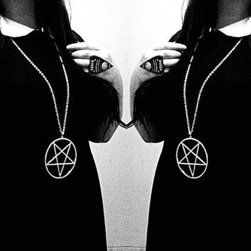 Large Silver Pentagram Necklace