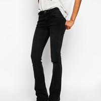ASOS Baby Kick Flare Jeans in Washed Western Black with Ripped Knee