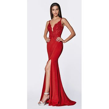 Plunging V-Neck Red Mermaid Long Prom Dress