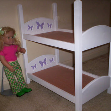 American Girl 18 inch doll size bunk bed with purple butterfly headboard design