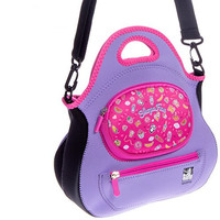 Designer Tote Bags for Kids - PURPLE - 5-in-One - Shopkins Compatible Organizer Handbag - Crossbody Bag for Girls - Shoulder Bag - Toy Tote - Lunch Tote - Zip Pouches - Pockets - Washable Neoprene