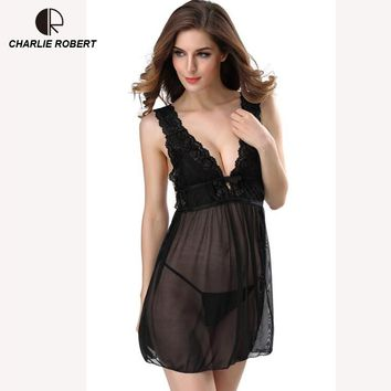 Women Lace Nightgown Sexy Lingerie Sleepwear Nightwear Sleep shirts + G-string Baby doll