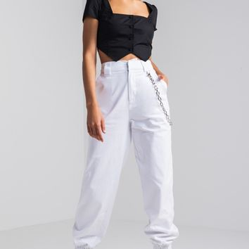 High Rise Chain Detail Tapered Leg Track Pant in White