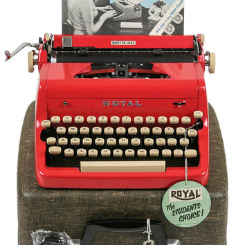 1956 Red Royal Quiet De Luxe Typewriter / Original Case, Key and Manual / Professionally Serviced / Excellent Condition