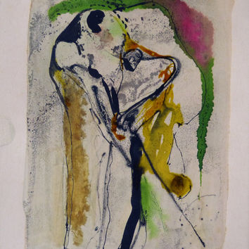 TRANSFIGURE 6, Abstract ink drawing 24x32cm original wonderful bright colorful painting vibrant contemporary surrealist figures GIFT of ART