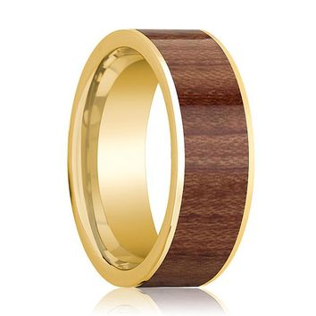 Mens Wedding Band Polished 14k Yellow Gold Men's Flat Wedding Ring with Rose Wood Inlay - 8mm