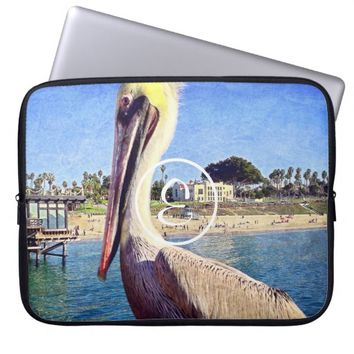 Beach pelican photo custom monogram laptop sleeve
