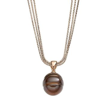 Freshwater by Honora Dyed Freshwater Cultured Pearl 18k Rose Gold Over Silver & Sterling Silver Multistrand Pendant Necklace (Brown)