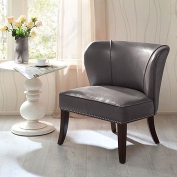 Unique Retro Vintage Wing Concave Back Faux Leather Padded Accent Club Chair