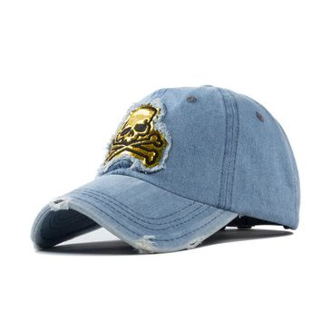 Outdoors casual gold shiny skull embroidery patch 6 panels denim baseball caps